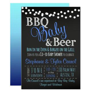 BBQ Baby and Beer Chalkboard Boy Shower Invitation