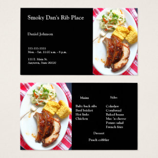 BBQ back ribs on checked cloth Business Card