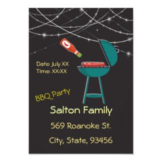 "BBQ Barbecue Back Yard Potluck Party 5"" X 7"" Invitation Card"