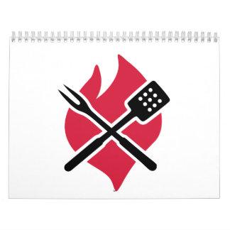 BBQ barbecue Fire Wall Calendar