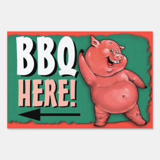 BBQ. Barbecue. Pig roast. Party. Customizable Sign