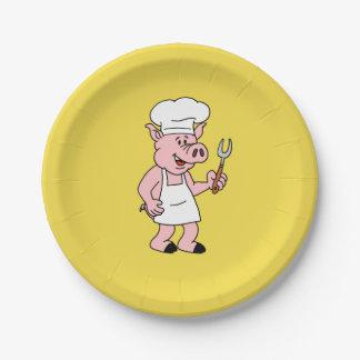 BBQ Cartoon Pig Plates