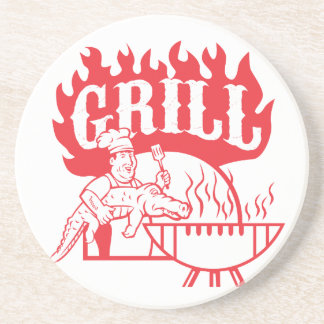 BBQ Chef Carry Gator Grill Retro Coaster