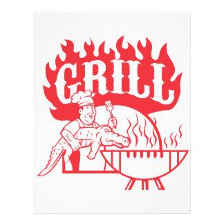 BBQ Chef Carry Gator Grill Retro Letterhead