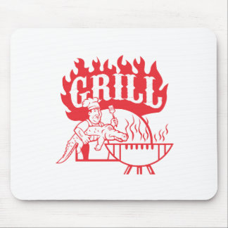 BBQ Chef Carry Gator Grill Retro Mouse Pad