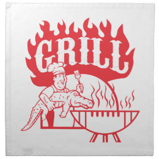 BBQ Chef Carry Gator Grill Retro Napkin