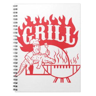BBQ Chef Carry Gator Grill Retro Notebook