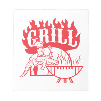 BBQ Chef Carry Gator Grill Retro Notepad