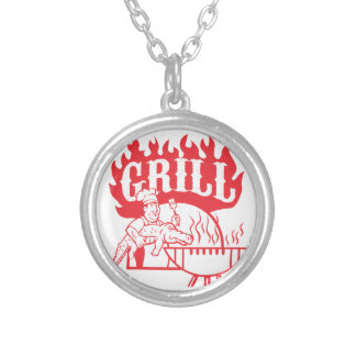 BBQ Chef Carry Gator Grill Retro Silver Plated Necklace
