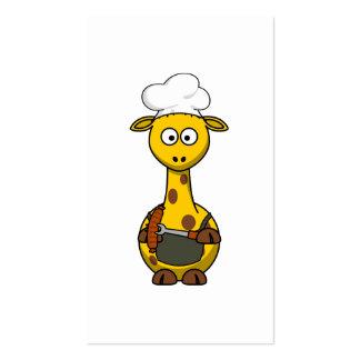 BBQ Chef Giraffe Cartoon Business Card