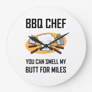 BBQ Chef Smell Butts Large Clock