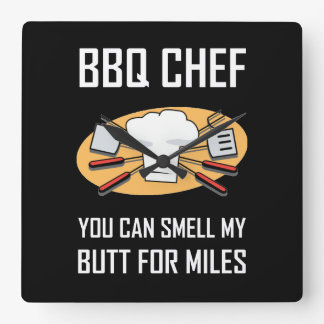 BBQ Chef Smell Butts Square Wall Clock