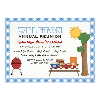 BBQ cookout family reunion, blue gingham border Invitations