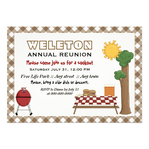 BBQ cookout family reunion, brown gingham border Personalized Invite
