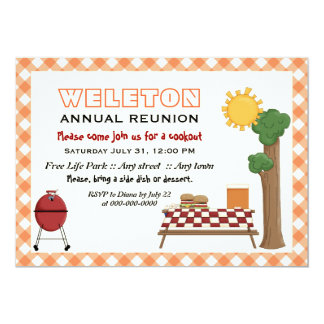 "BBQ cookout family reunion, orange gingham border 5"" X 7"" Invitation Card"