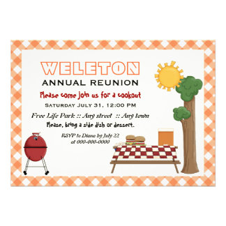 BBQ cookout family reunion, orange gingham border Card