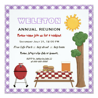 """BBQ cookout family reunion, purple gingham border 5.25"""" Square Invitation Card"""