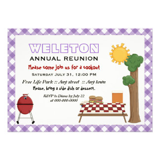 BBQ cookout family reunion, purple gingham border Card