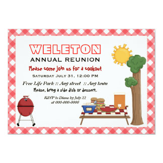 """BBQ cookout family reunion, red gingham border 5"""" X 7"""" Invitation Card"""