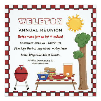 BBQ cookout picnic family reunion checkered border Card