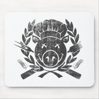 BBQ Crest - worn black Mouse Pad