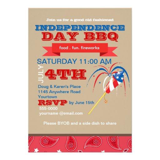 BBQ de Jour de la Déclaration d'Indépendance Invitations