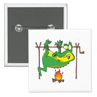 BBQ dinner funny alligator gator cartoon 2 Inch Square Button