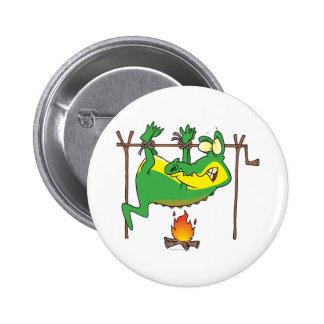 BBQ dinner funny alligator gator cartoon 2 Inch Round Button