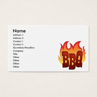 bbq flame text design business card