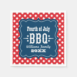 BBQ Gingham Plaid Napkins   4th of July Disposable Napkin