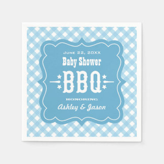 BBQ Gingham Plaid Napkins | Blue and White Disposable Napkins