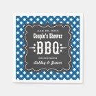 BBQ Gingham Plaid Napkins   Blue + Charcoal Black