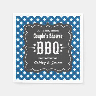 BBQ Gingham Plaid Napkins | Blue + Charcoal Black Paper Napkin