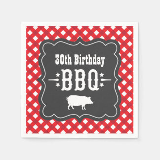 BBQ Gingham Plaid Napkins | Red and Charcoal Black Paper Napkins