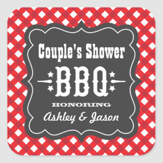 BBQ Gingham Plaid Sticker | Red and Charcoal Black