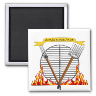 BBQ Grill Royal Crest Square Magnet
