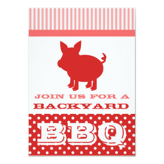 """BBQ Invitation - Red and Pink Pig 4.5"""" X 6.25"""" Invitation Card"""
