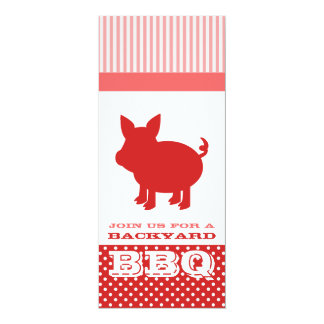 """BBQ Invitation - Red and Pink Pig 4"""" X 9.25"""" Invitation Card"""