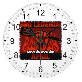 BBQ Legends are Born in April Large Clock