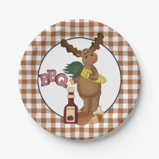 Bbq Moose cartoon party paper plate 7 Inch Paper Plate