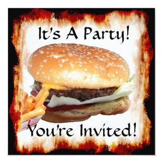 """BBQ Party! Invitation 5.25"""" Square Invitation Card"""