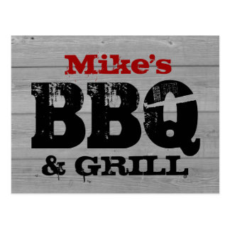 BBQ party invitation postcards | Wood panel