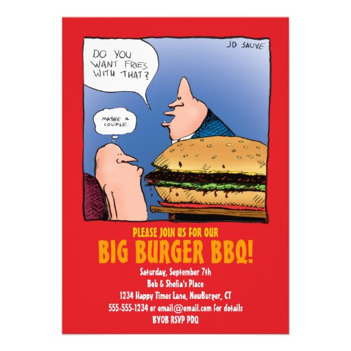 bbq party invitation with funny burger cartoon 5quot x 7
