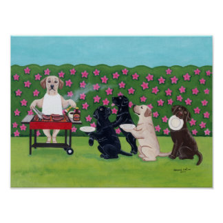 BBQ Party Labradors in the Azalea Garden Artwork Poster