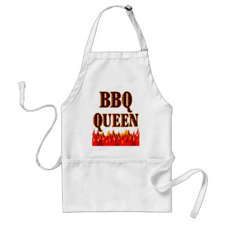 BBQ Queen Red Flames Funny Saying Standard Apron