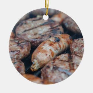 BBQ Sausages Round Ceramic Ornament