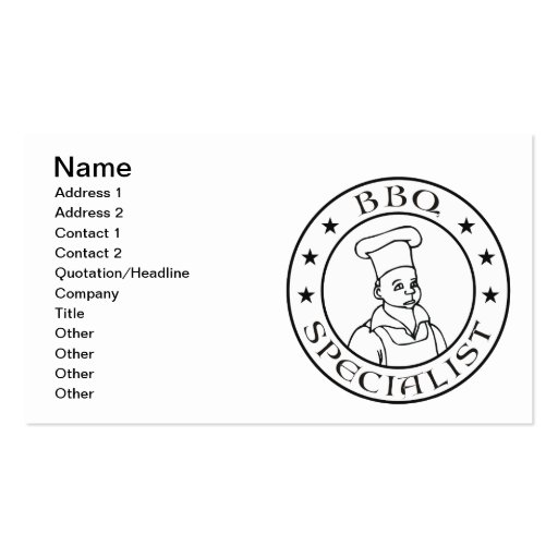 BBQ Specialist Business Cards