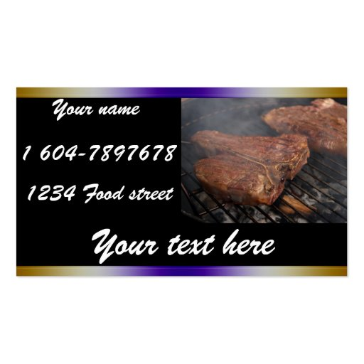BBQ steaks on the grill Dinning Cards Business Card Template