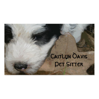BC Pup on a Leaf - Old English Sheepdog puppy Business Card Template