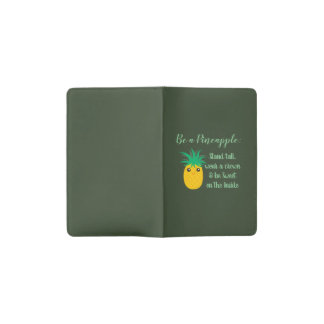 Be A Pineapple Inspirational Motivational Quote Pocket Moleskine Notebook